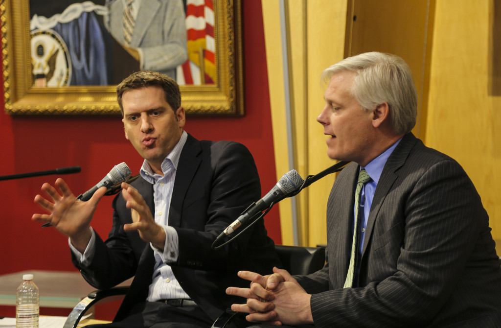 "Minnesota House leaders Kurt Daudt (R-Crown) and Paul Thissen (D-Minneapolis) debate during a  legislative session preview at the Humphrey School of Public Affairs on Feb. 3. The duo found few points of commonality, but seemed to suggest that if the upcoming session produces a bonding bill of roughly $800 million, both parties might be amenable. Thissen said that medical marijuana is not on the table, but plans to push a women's economic security bill. Daudt said that much of the GOP's energy will be focused on repealing business tax hikes passed in 2013. They disagreed on the need for a minimum wage hike. They seemed to agree that this is, in Thissen's words, ""not the year"" for the comprehensive, 20-year, $12 billion transportation package that has been pushed recently by MnDOT Commissioner Charles Zelle. Photo by Kevin Featherly."