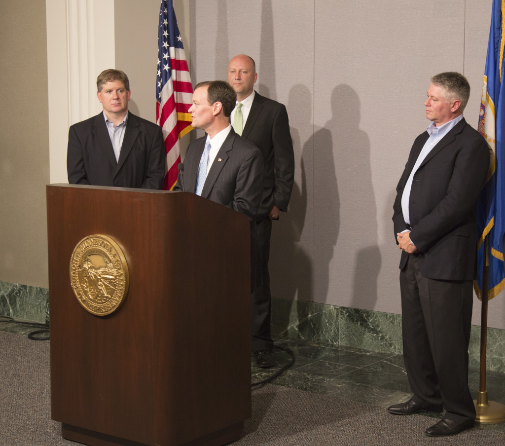 Minnesota Republican gubernatorial candidates held a press conference Wednesday to demonstrate party unity in the wake of Tuesday's primary elections. Pictured, left to right are Kurt Zellers, Jeff Johnson, Marty Seifert and Scott Honour. Johnson, a Hennepin County commissioner, won Tuesday's primary with 30 percent of the vote. He will square off in the race for governor against incumbent DFLer Mark Dayton in the November general election. Photo: Kevin Featherly